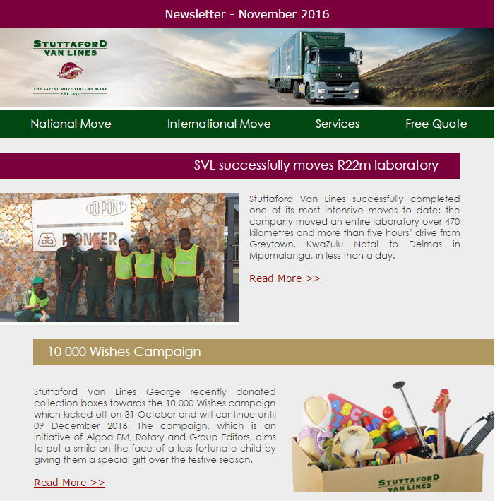 Stuttaford Van Lines Newsletter - November 2016