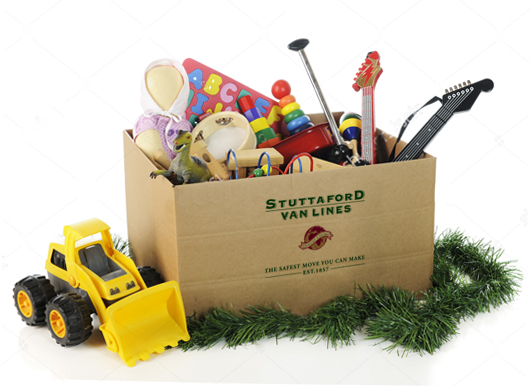 Stuttaford van Lines box with toys and toy construction scraper.